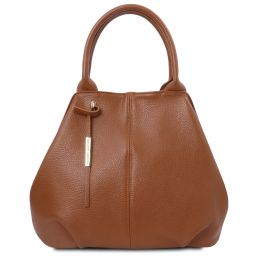 TL Bag Shopping Tasche aus weichem Leder Cognac TL142005