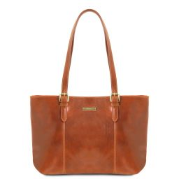 Annalisa Leather shopping bag with two handles Мед TL141710