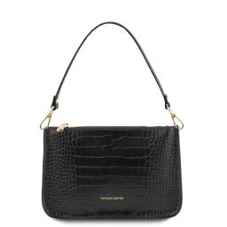 Cassandra Croc print leather clutch handbag Black TL142039