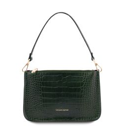 Cassandra Croc print leather clutch handbag Forest Green TL142039