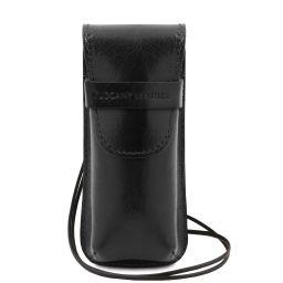 Exklusives Brillen-/Smartphone-/Uhren - Etui aus Leder Schwarz TL141282