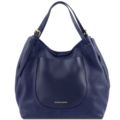 Cinzia Soft leather shopping bag Dark Blue TL141515
