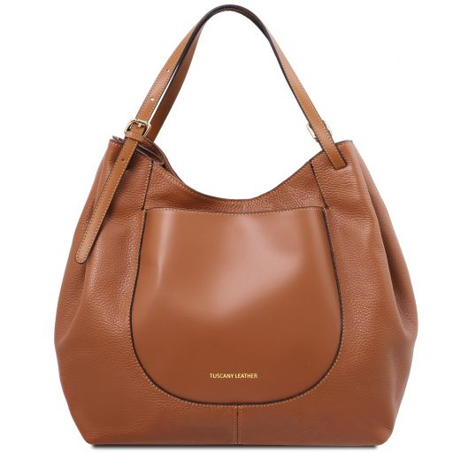 Cinzia Soft leather shopping bag Cognac TL141515