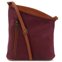 TL Bag Bolsillo unisex con bandolera en piel suave Bordeaux TL141111