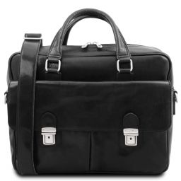 San Miniato Leather multi compartment laptop briefcase with two front pockets Черный TL142026