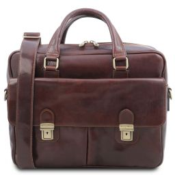 San Miniato Leather multi compartment laptop briefcase with two front pockets Коричневый TL142026