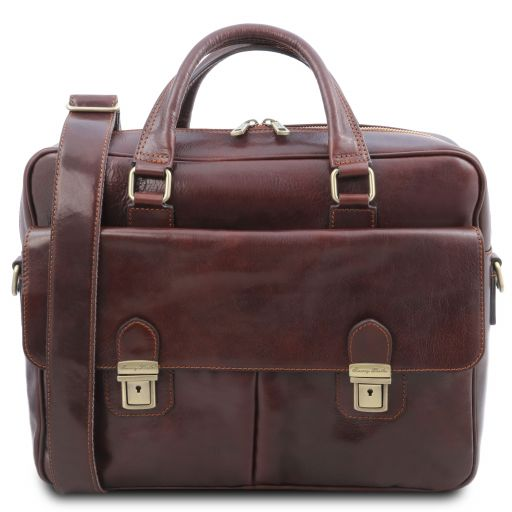 San Miniato Leather multi compartment laptop briefcase with two front pockets Brown TL142026