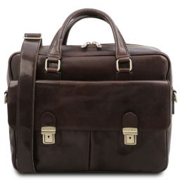 San Miniato Leather multi compartment laptop briefcase with two front pockets Темно-коричневый TL142026