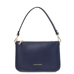 Cassandra Leather clutch handbag Dark Blue TL142038