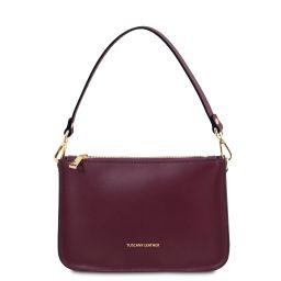 Cassandra Leather clutch handbag Bordeaux TL142038