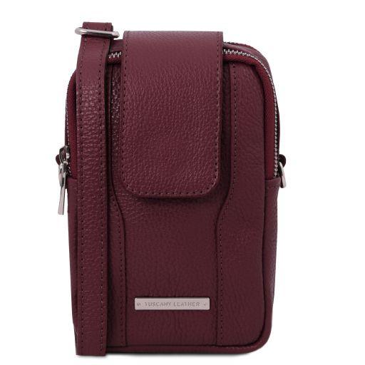 TL Bag Sac bandoulière pour portable en cuir souple Bordeaux TL141698