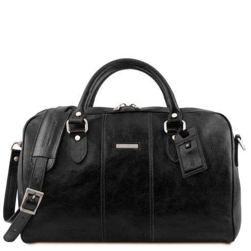Lisbona Дорожная кожаная сумка-даффл - Маленький размер Черный TL141658