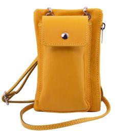 TL Bag Soft Leather cellphone holder mini cross bag Yellow TL141423