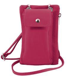 TL Bag Soft Leather cellphone holder mini cross bag Fucsia TL141423