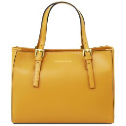 Aura Leather handbag Yellow TL141434