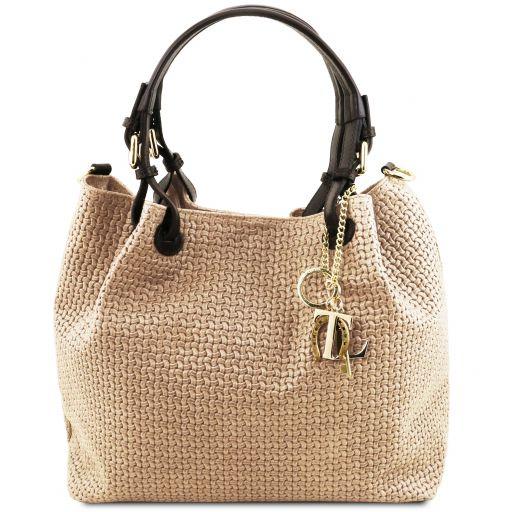 TL KeyLuck Кожаная сумка-шоппер с плетеным теснением Бежевый TL141573