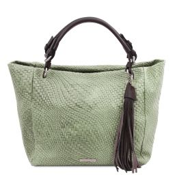 TL Bag Woven printed leather shopping bag Mint Green TL142066