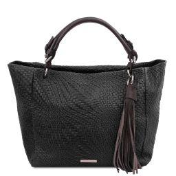 TL Bag Sac shopping en cuir imprimé tressé Noir TL142066