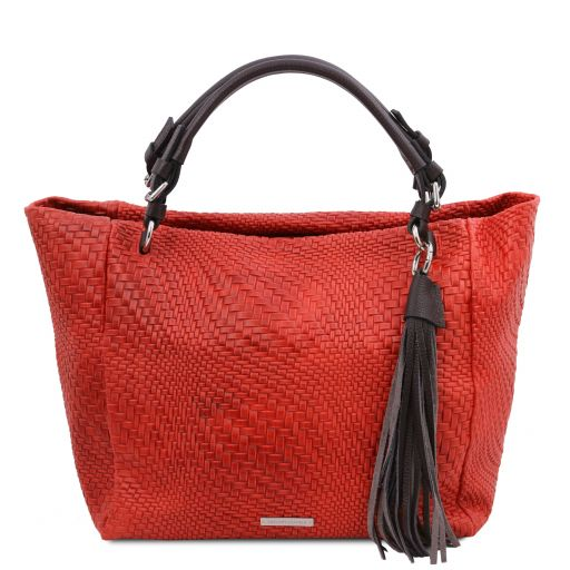 TL Bag Woven printed leather shopping bag Lipstick Red TL142066