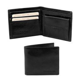 Esclusivo portafoglio uomo in pelle 3 ante con portaspiccioli Nero TL141377
