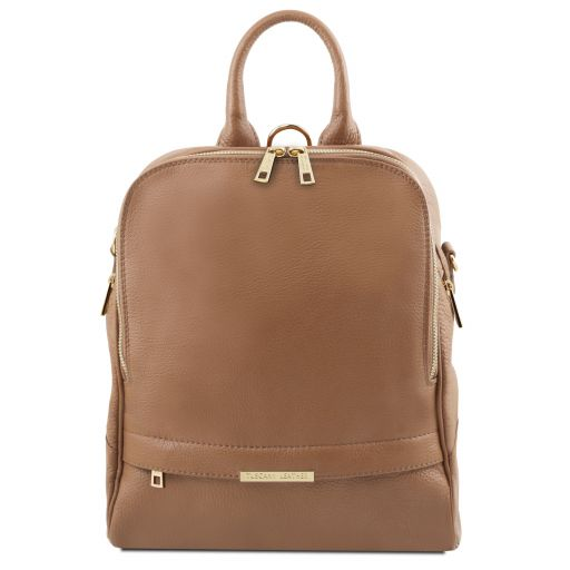 TL Bag Sac à dos pour femme en cuir souple Taupe TL141376