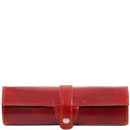 Exklusives Stiftetui aus Leder Rot TL141620