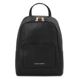 TL Bag Kleiner Damenrucksack aus weichem Leder Schwarz TL142052