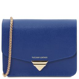 TL Bag Saffiano leather clutch with chain strap Blue TL141954