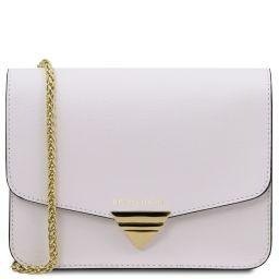 TL Bag Saffiano leather clutch with chain strap White TL141954