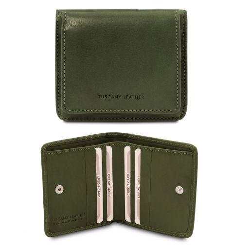 Esclusivo portafoglio in pelle con portamonete Verde TL142059