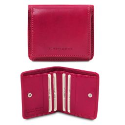 Exclusive leather wallet with coin pocket Fucsia TL142059