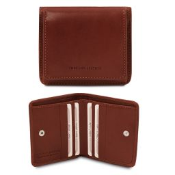 Exclusive leather wallet with coin pocket Brown TL142059