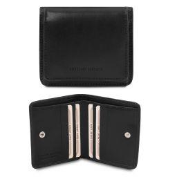 Exklusive Brieftasche aus Leder mit Münzfach Schwarz TL142059