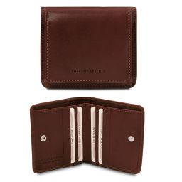 Exclusive leather wallet with coin pocket Dark Brown TL142059