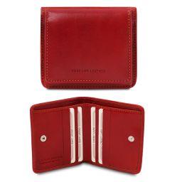 Elégant portefeuille en cuir avec porte monnaie Rouge TL142059