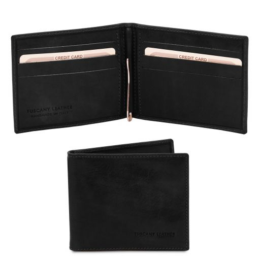 Exclusive leather card holder with money clip Black TL142055