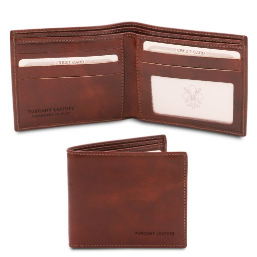 Exclusive 2 fold leather wallet for men Brown TL142056