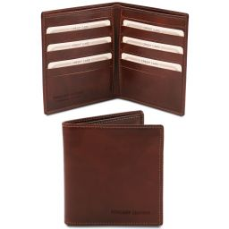 Exclusive 2 fold leather wallet for men Brown TL142060