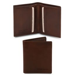 Exclusive 2 fold leather wallet for men Dark Brown TL142064