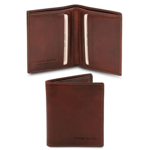 Exclusive 2 fold leather wallet for men Brown TL142064