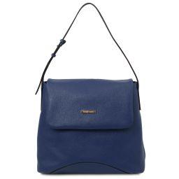 TL Bag Borsa a spalla in pelle morbida Blu scuro TL142082