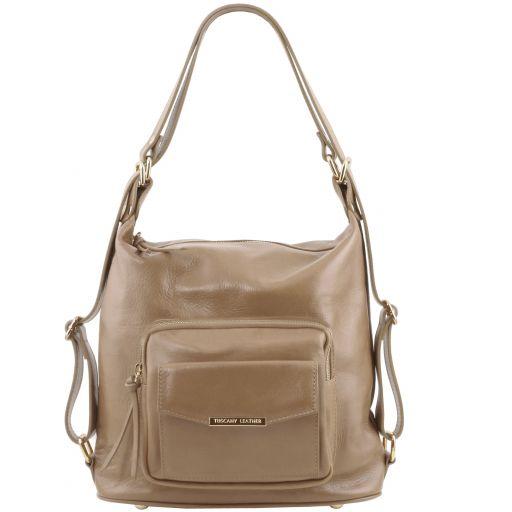 TL Bag Женская кожаная сумка-рюкзак 2 в 1 Светлый серо-коричневый TL141535