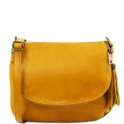 TL Bag Umhängetasche aus weichem Leder mit Quasten Gelb TL141223