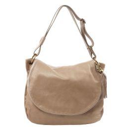 TL Bag Sac bandoulière besace en cuir souple avec pompon Taupe clair TL141110