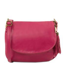 TL Bag Soft leather shoulder bag with tassel detail Fuchsia TL141223