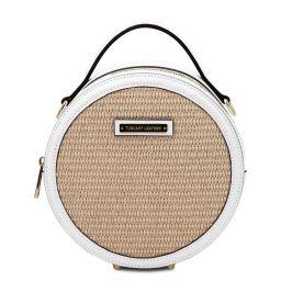 Thelma Straw effect round bag White TL142090