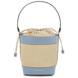 Louise Straw effect bucket bag Light Blue TL142091