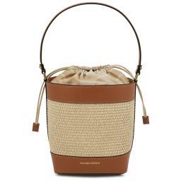 Louise Straw effect bucket bag Cognac TL142091