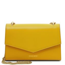 Fortuna Leather clutch with chain strap Yellow TL141944