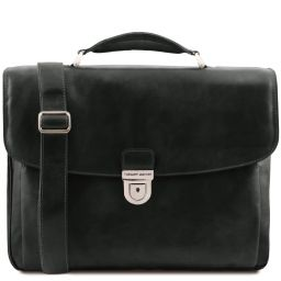 Alessandria Leather multi compartment TL SMART laptop briefcase Black TL142067